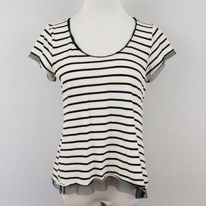 Anthropologie Striped Mesh Top